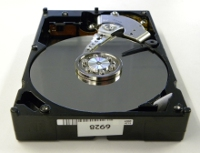 Spinning platters hard disk with cover off