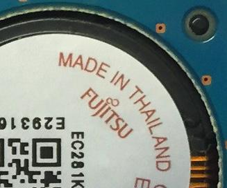 Fujitsu underside of disk spindle