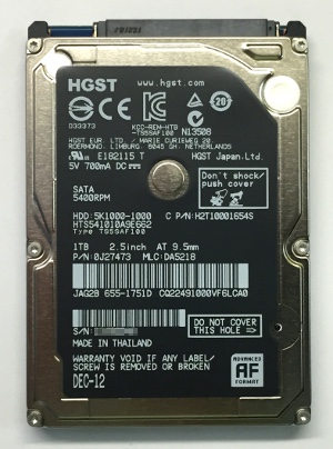 HGST 1TB laptop disk label