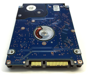 HGST laptop disk underside with board and SATA connections