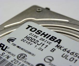 Toshiba top of drive, name angled