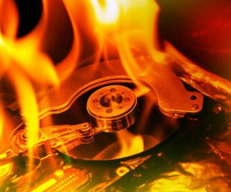 hard drive in fire