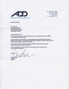 Architectural Drafting & Design, Inc. testimonial
