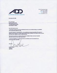 Architectural Drafting & Design, Inc. testimonial