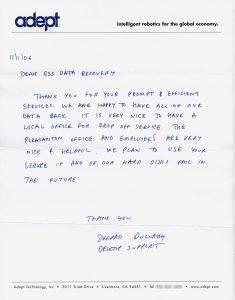 Adept Technology, Inc. testimonial letter