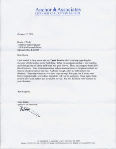 Anchor Associates testimonial letter