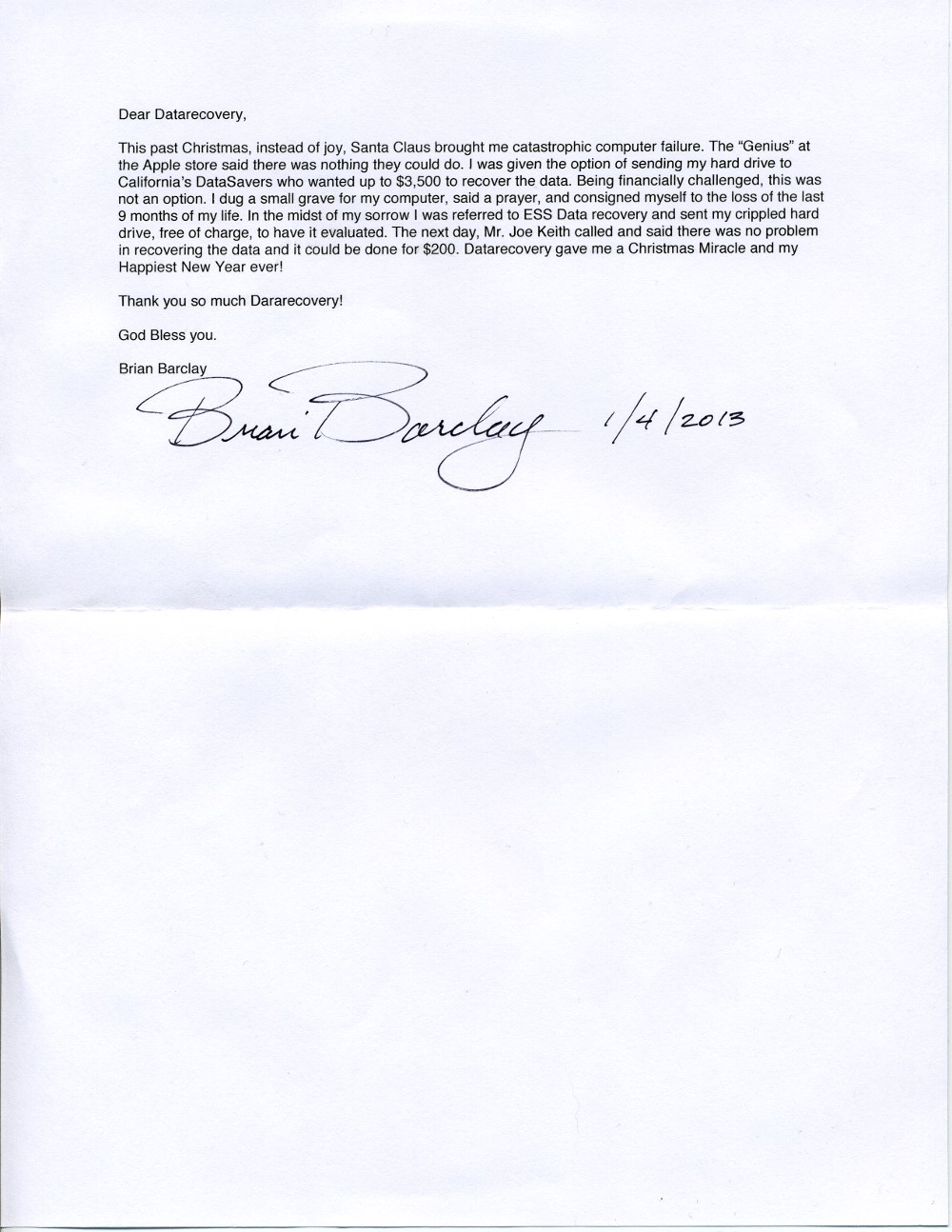 Brian Barclay testimonial