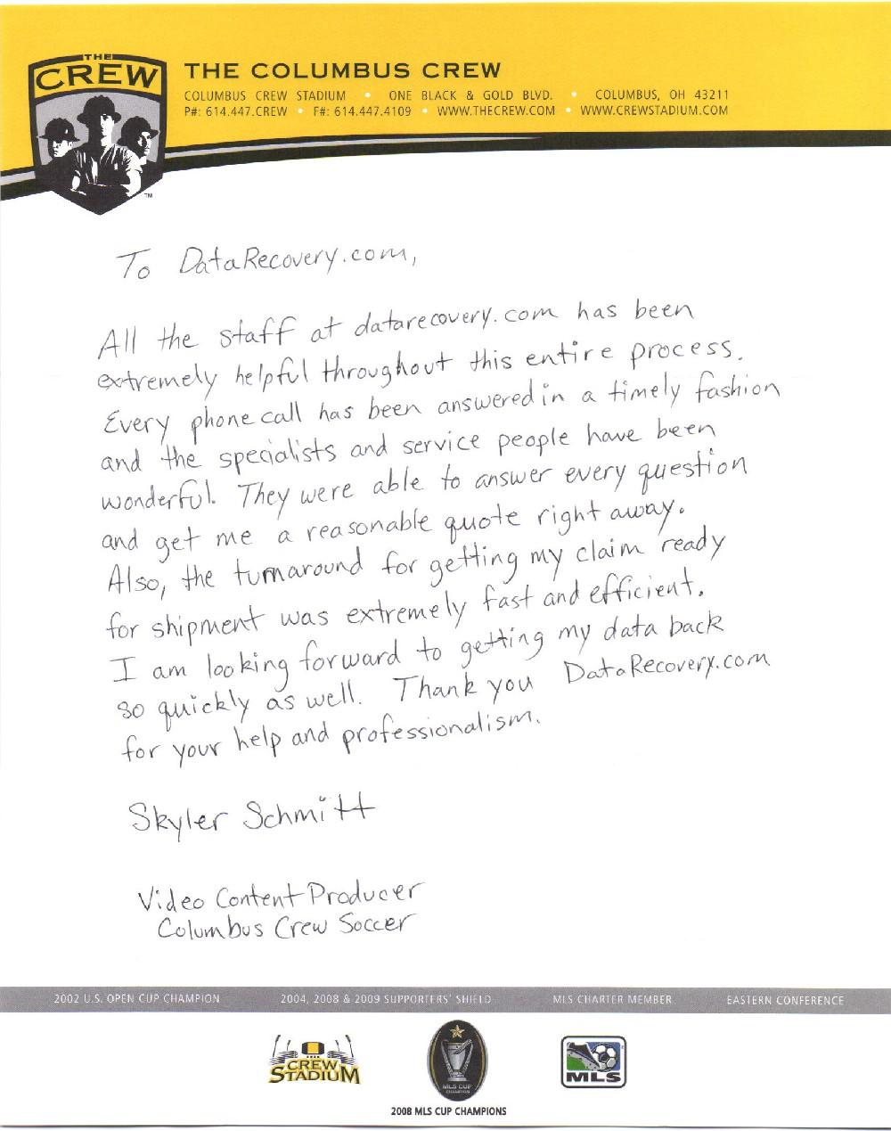 Columbus Crew Soccer testimonial