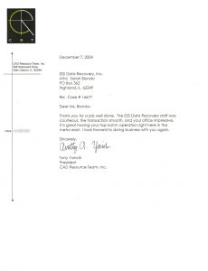 CAD Resource Team, Inc. testimonial letter