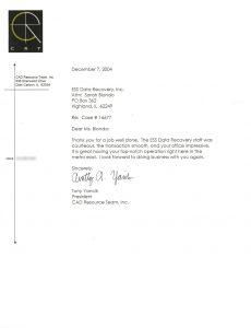 CAD Resource Team, Inc. testimonial letter