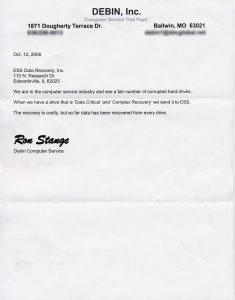 Debin Computer Service testimonial letter