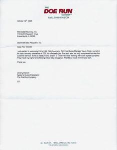 The Doe Run Company testimonial letter