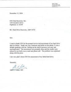 John G. Felker, MD testimonial letter