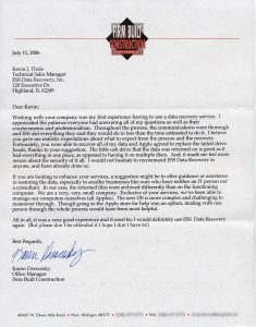 Firm Built Construction testimonial letter