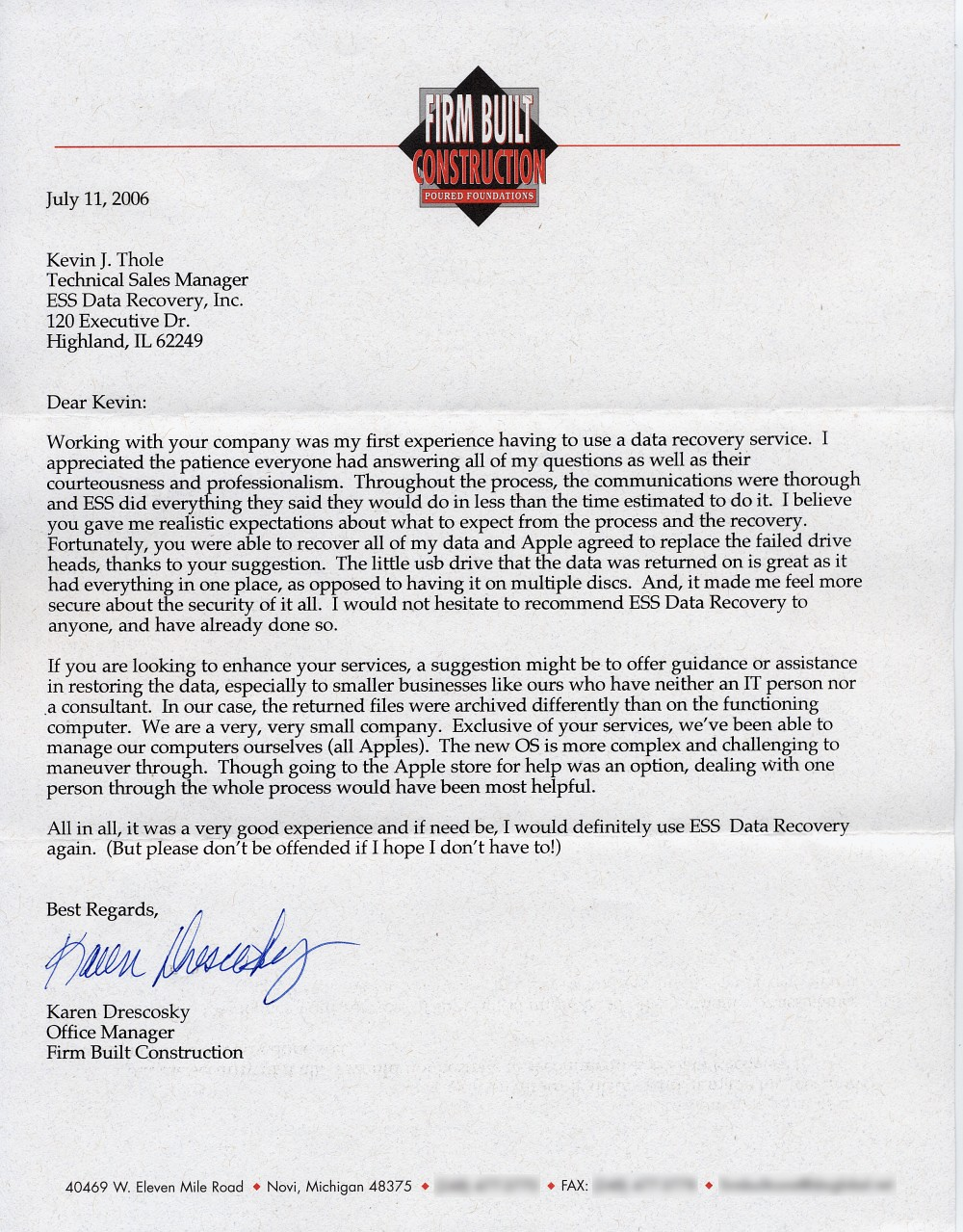 Firm Built Construction testimonial letter