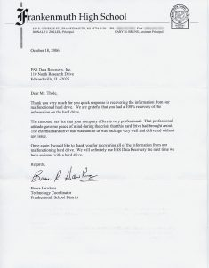 Frankenmuth High School testimonial letter