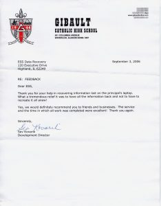 Gibault Catholic High School testimonial letter
