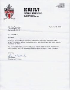 Gibault Catholic High School testimonial letter
