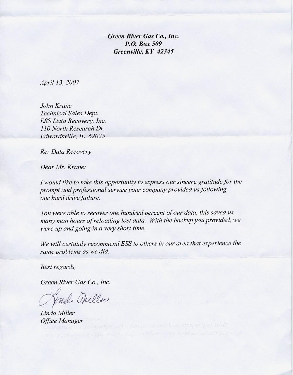 Green River Gas Co., Inc. testimonial