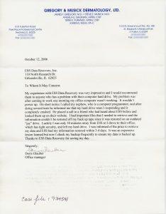 Gregory & Musick Dermatology, Ltd. testimonial letter