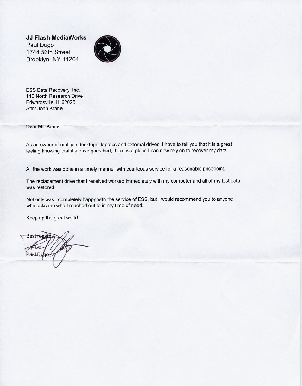 JJ Flash MediaWorks testimonial letter
