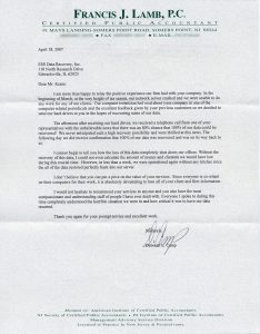 Francis J. Lamb, P.C. Certified Public Accountant testimonial