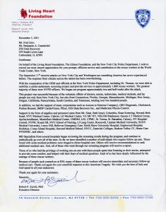 NYPD & Living Heart Foundation testimonial letter