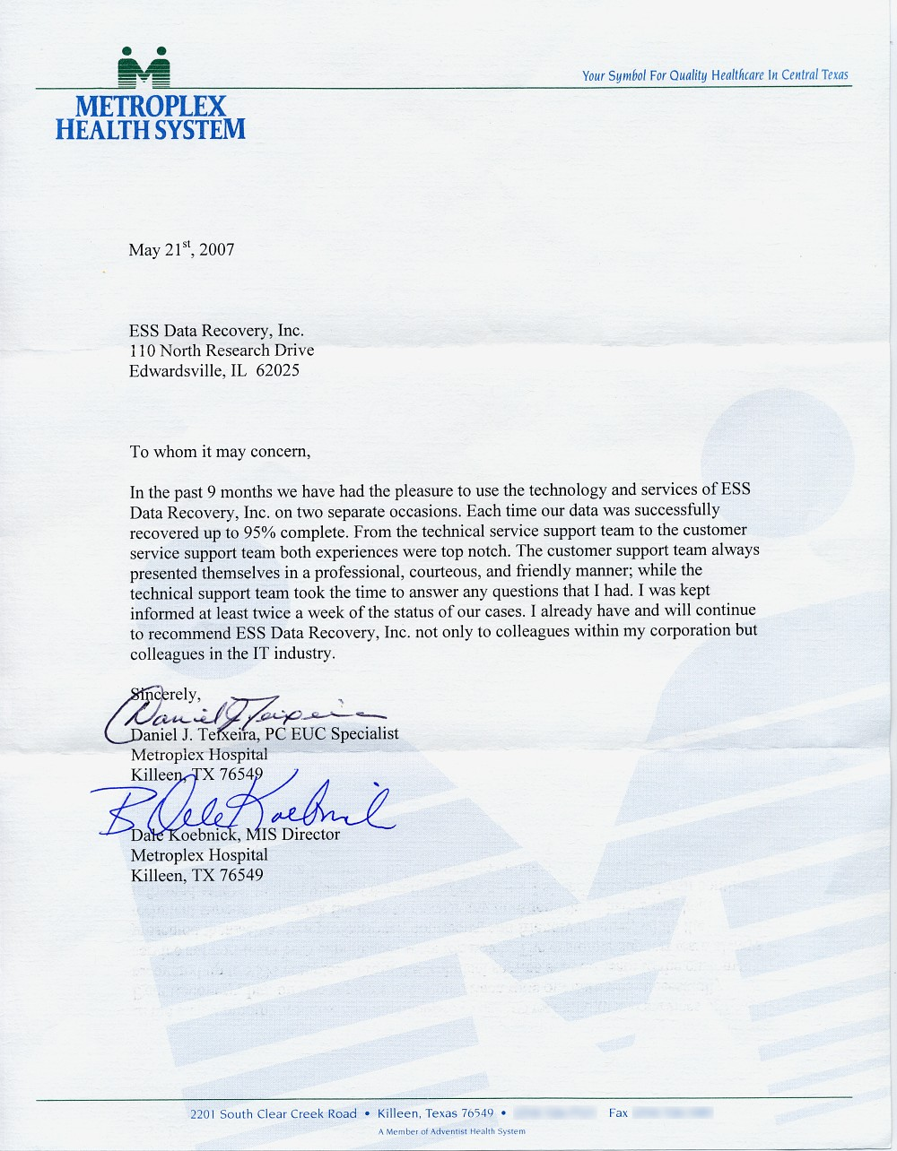 Metroplex Health System testimonial
