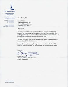 City of Minneapolis testimonial letter