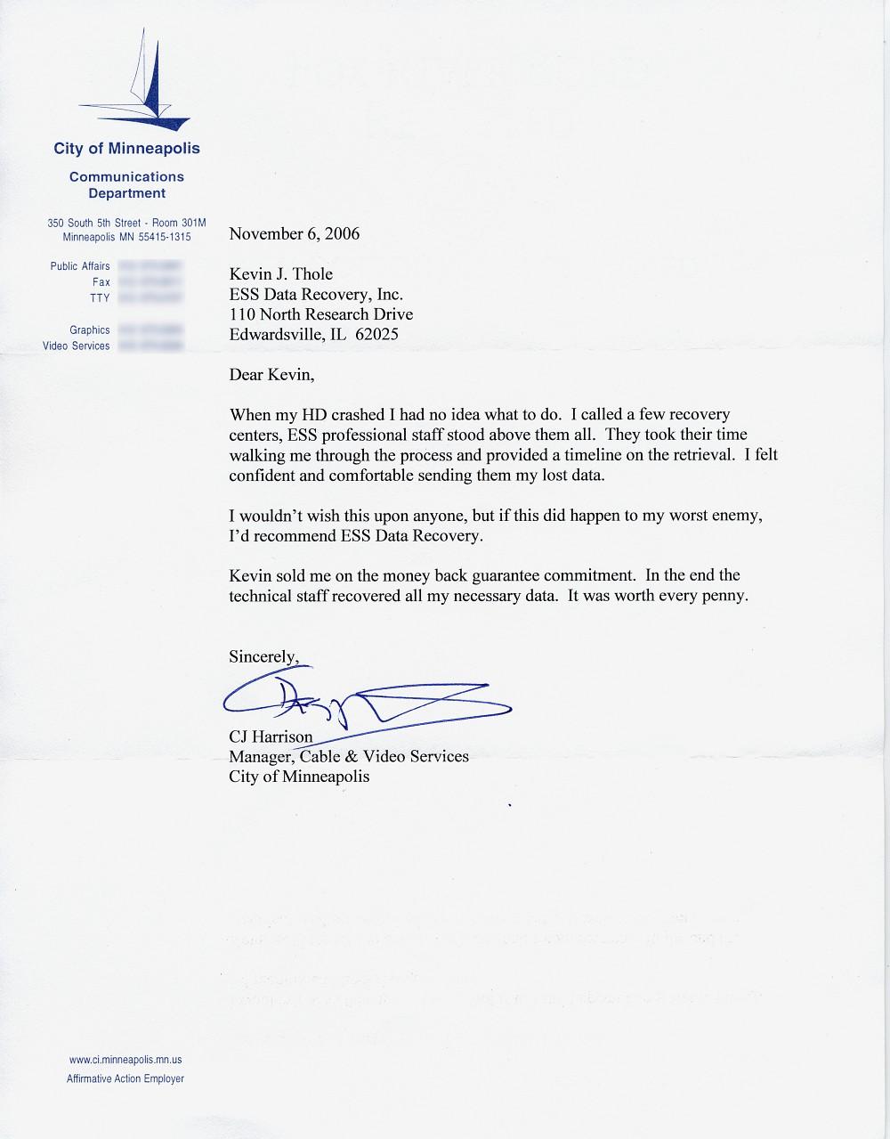 City of Minneapolis testimonial letter
