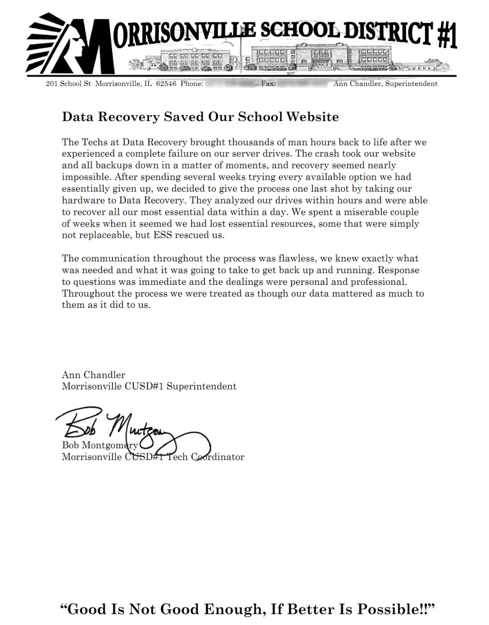 Morrisonville School District #1 testimonial
