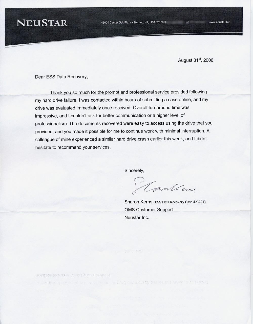 Neustar Inc. testimonial letter