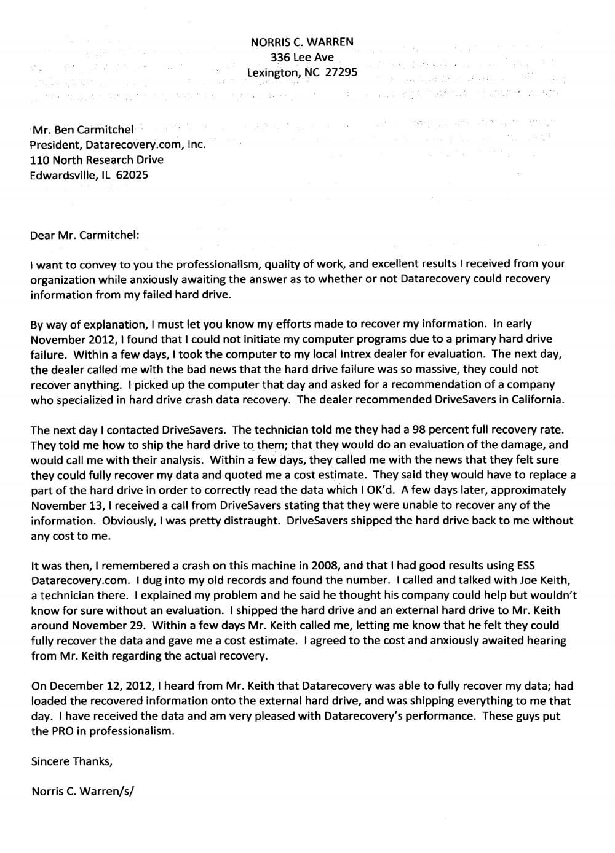 Norris C. Warren testimonial