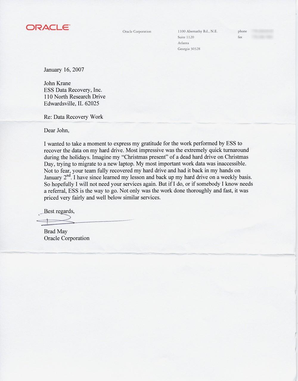 Oracle Corporation testimonial