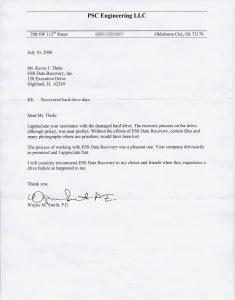 PSC Engineering, LLC testimonial letter
