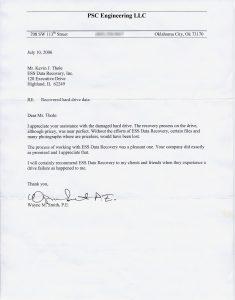PSC Engineering, LLC testimonial letter