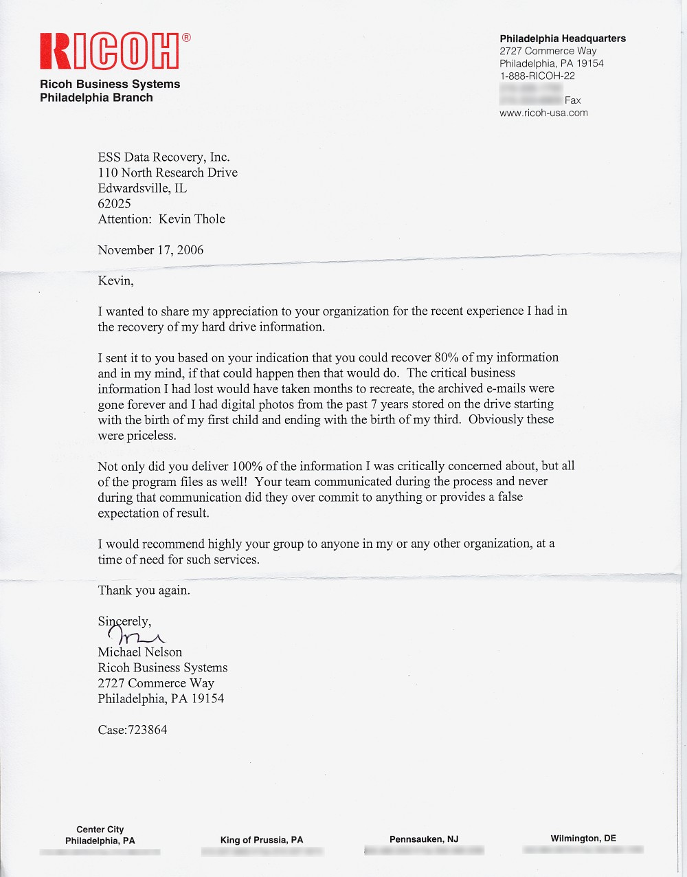 Ricoh Business Systems testimonial letter