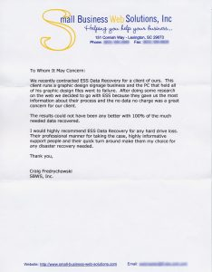 Small Business Web Solutions, Inc. testimonial letter