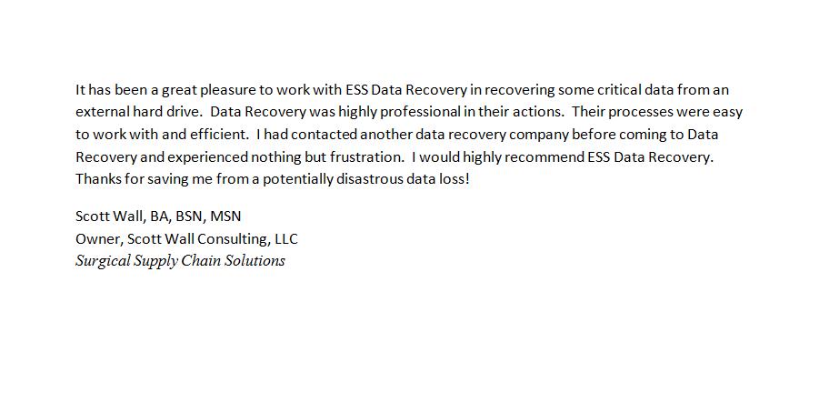 Scott Wall Consulting, LLC testimonial