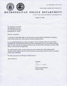 St. Louis Metropolitan Police Department testimonial letter
