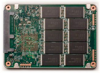 SSD interior shot showing NAND chips