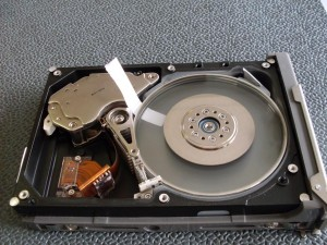 Transparent hard drive platters.