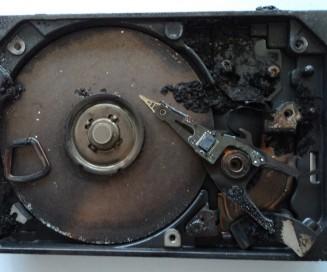 Inside a Fire-Damaged HDD