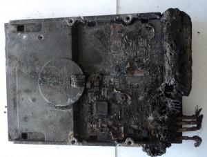 Fire-damaged hard drive.