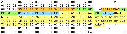 Recovered text message in raw hex data