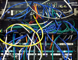 Network systems with cables on rack