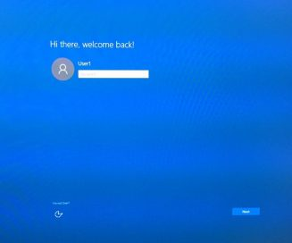 Windows 10 upgrade login screen, welcome back