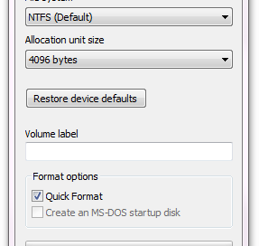 Format GUI in Windows