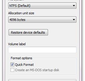 Format GUI in Windows