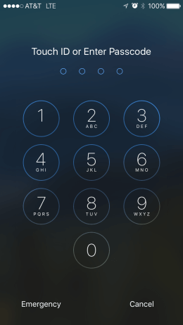 iPhone 6 lock screen passcode entry